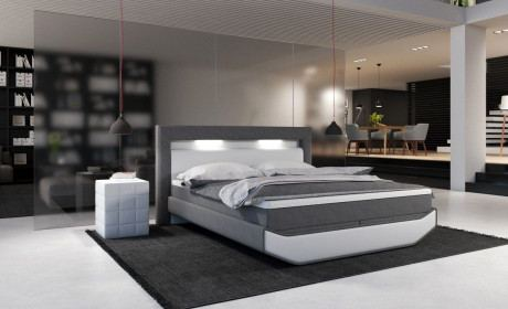 Design Boxspringbett Livo in komplett weiss