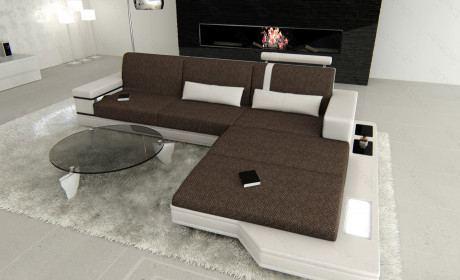 Sofa Messana L Form im Materialmix Hugo 8