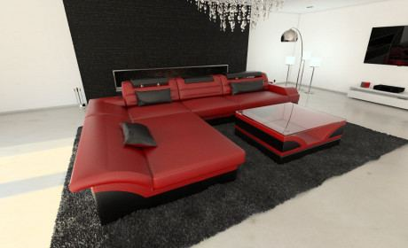 Ledersofa Monza L Form rot-schwarz