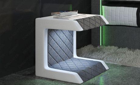 Beistellstisch, Schlafzimmer Tisch Stoff Paris mit Steppung in Webstoff Hugo 5 - grau