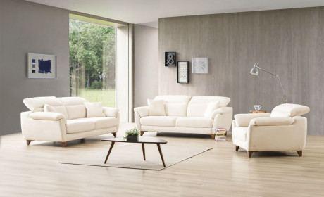 Stoff Sofa Set Erlangen mit elektrischer Relaxfunktion