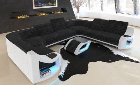 elegantes Stoff Sofa Genua mit Chesterfield Muster in Webstoff Hugo 13 - dunkelgrau