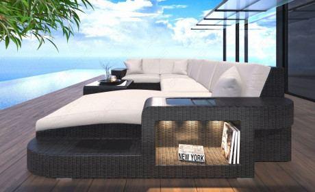 Rattansofa Wave Lounge Set mit LED Beleuchtung schwarz-beige