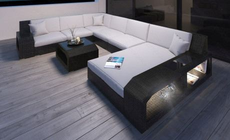 Rattansofa Lounge Set Matera mit LED Beleuchtung