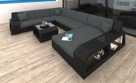 Rattan Sofa Lounge Set Matera mit LED Beleuchtung