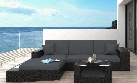 Rattan Sofa Lounge Set Messana L-Form LED