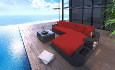 Rattansofa Gartenmöbel Lounge Wave L Form - rot