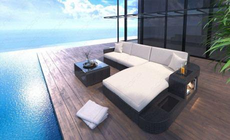 Poly Rattan Sofa Frankfurt L-Form mit LED Beleuchtung schwarz-beige
