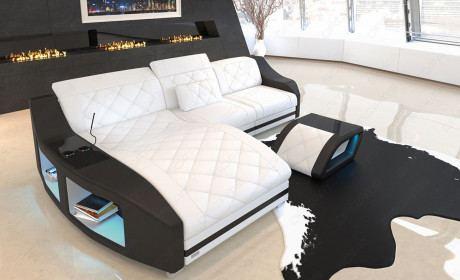 Moderne Leder Couch Swing mit LED Beleuchtung und Ottomane in weiss - schwarz