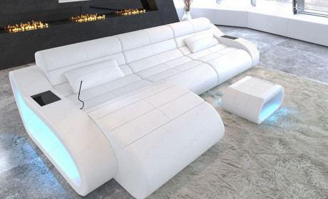 Sofa Couch München exklusive Design Eckcouch mit USB Anschluss in komplett weiss