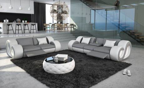 3 Sitzer und 2 Sitzer Sofa NESTA modern mit Beleuchtung grau-weiss