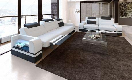 Ledersofa Garnitur Parma LED 3er und 2er Relaxfunktion weiss - schwarz