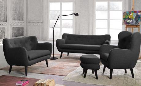 Sofagarnitur 3+2+1 Köln schwarz Polsterbezug mit optionalen Hocker