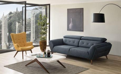 Stoff Sofa Garnitur Chemnitz im 3er und 1er Set in blau - Nerm 38