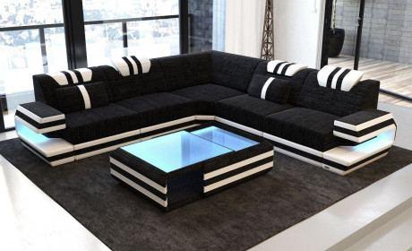 Designer Couch mit USB Anschluss in Strukturstoff Hugo 13 - dunkelgrau