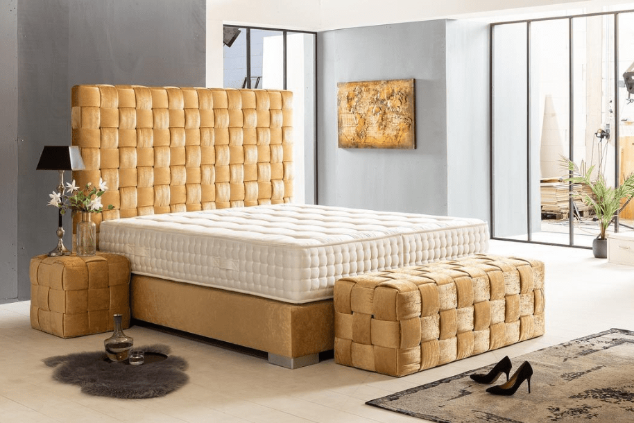 Design Boxspringbett California Seidenglanz Stoff Gold