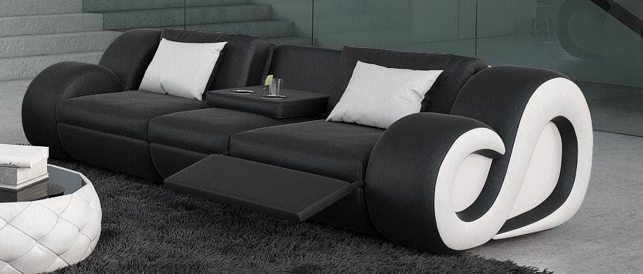 Ledercouch NESTA schwarz mit Beleuchtung und Relaxfunktion