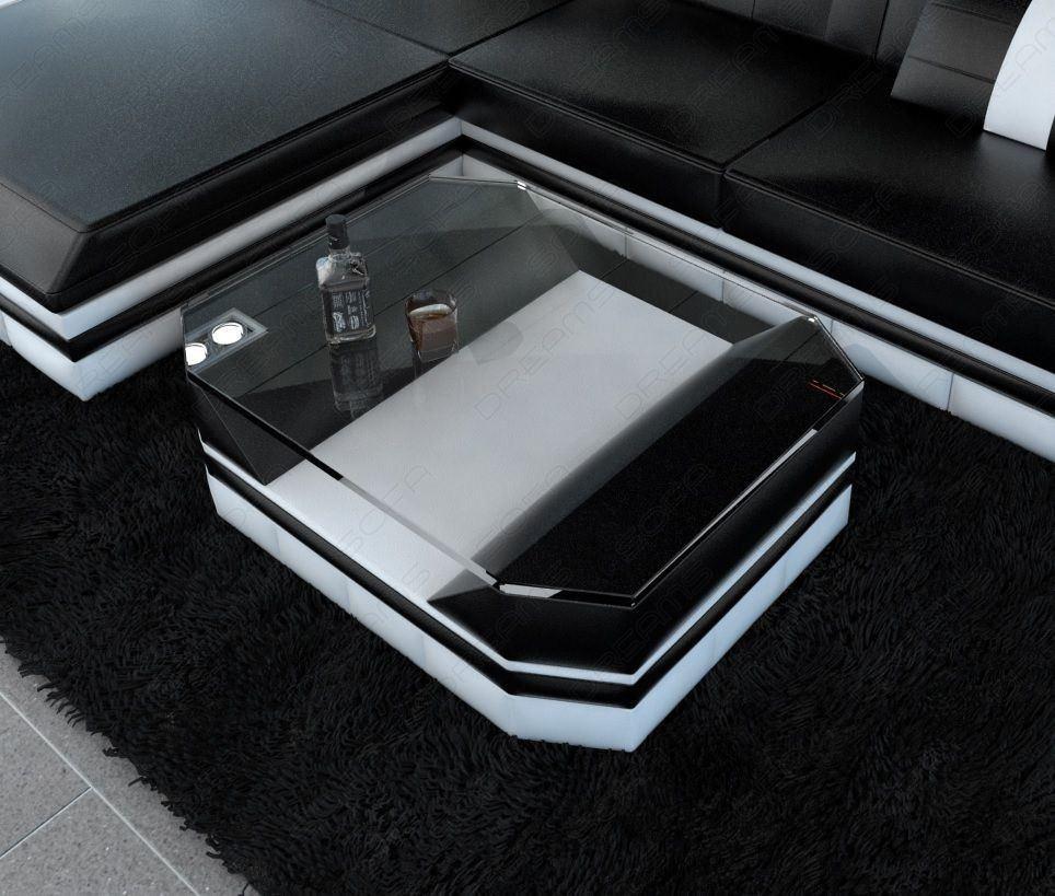 Glastisch Turino in den Farben schwarz-weiss