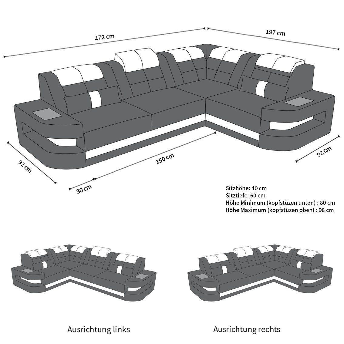 Couch Como In L Form Mit Led Licht Designersofa Günstig