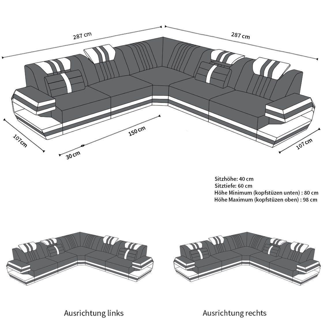 Couch Ragusa In Der L Form Als Modernes Ecksofa In Leder