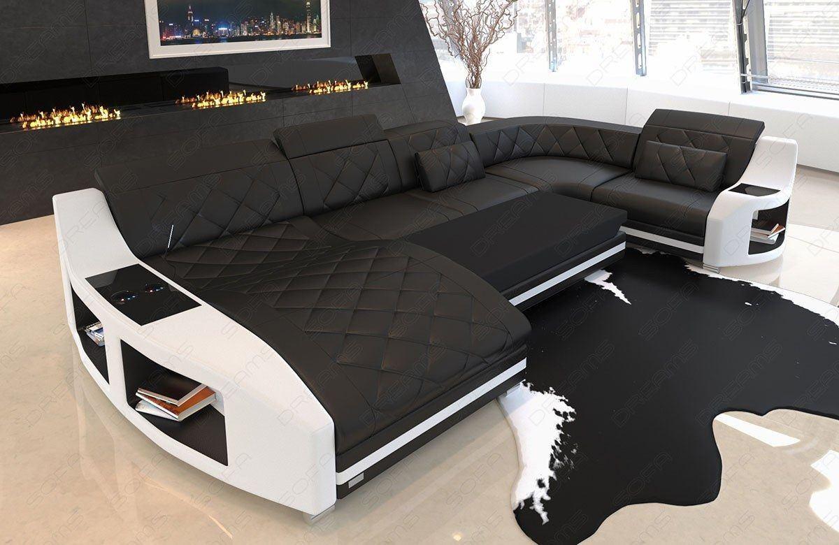leder wohnlandschaft swing in der u form mit ottomane. Black Bedroom Furniture Sets. Home Design Ideas