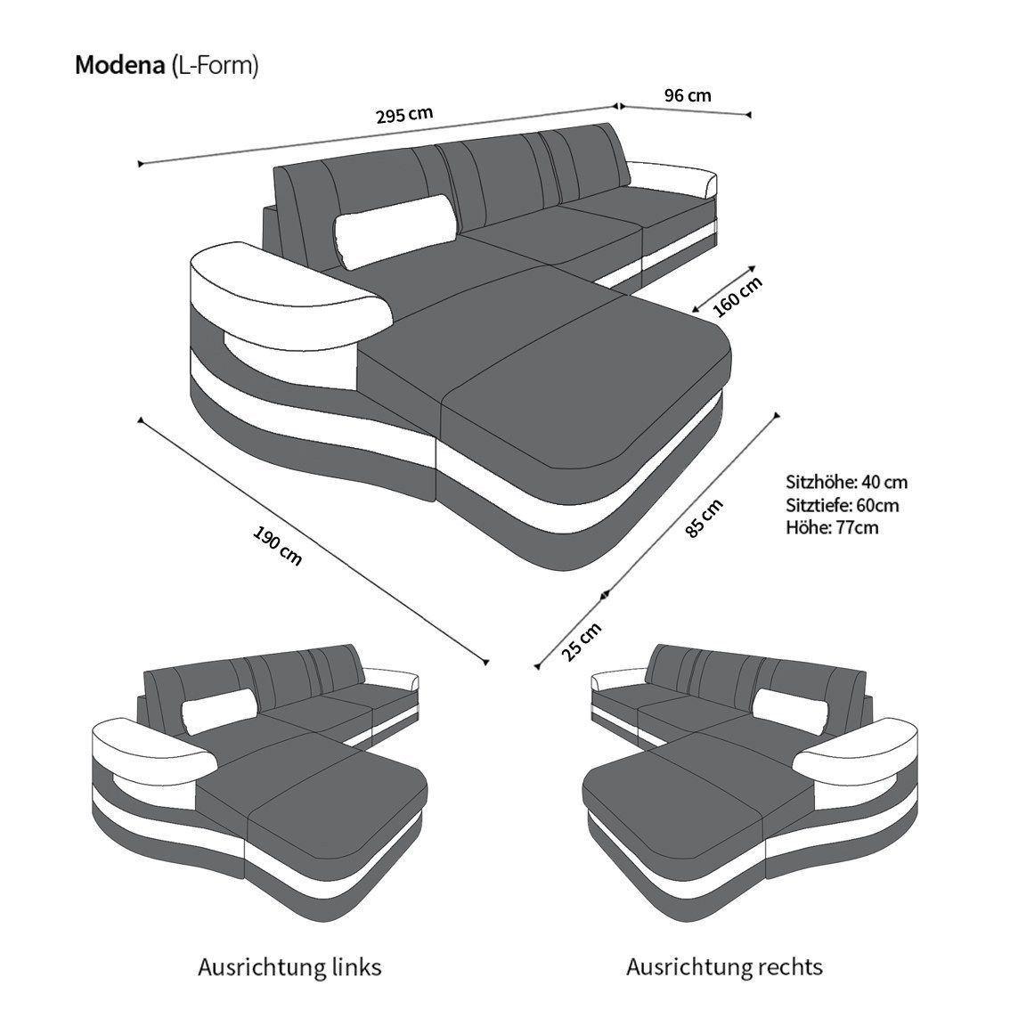 ledersofa modena in der l form als ecksofa mit farbe schwarz weiss. Black Bedroom Furniture Sets. Home Design Ideas