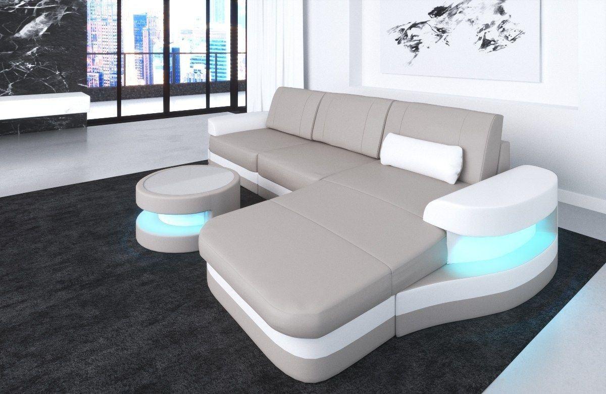 ledersofa modena in der l form als ecksofa mit farbe beige weiss. Black Bedroom Furniture Sets. Home Design Ideas