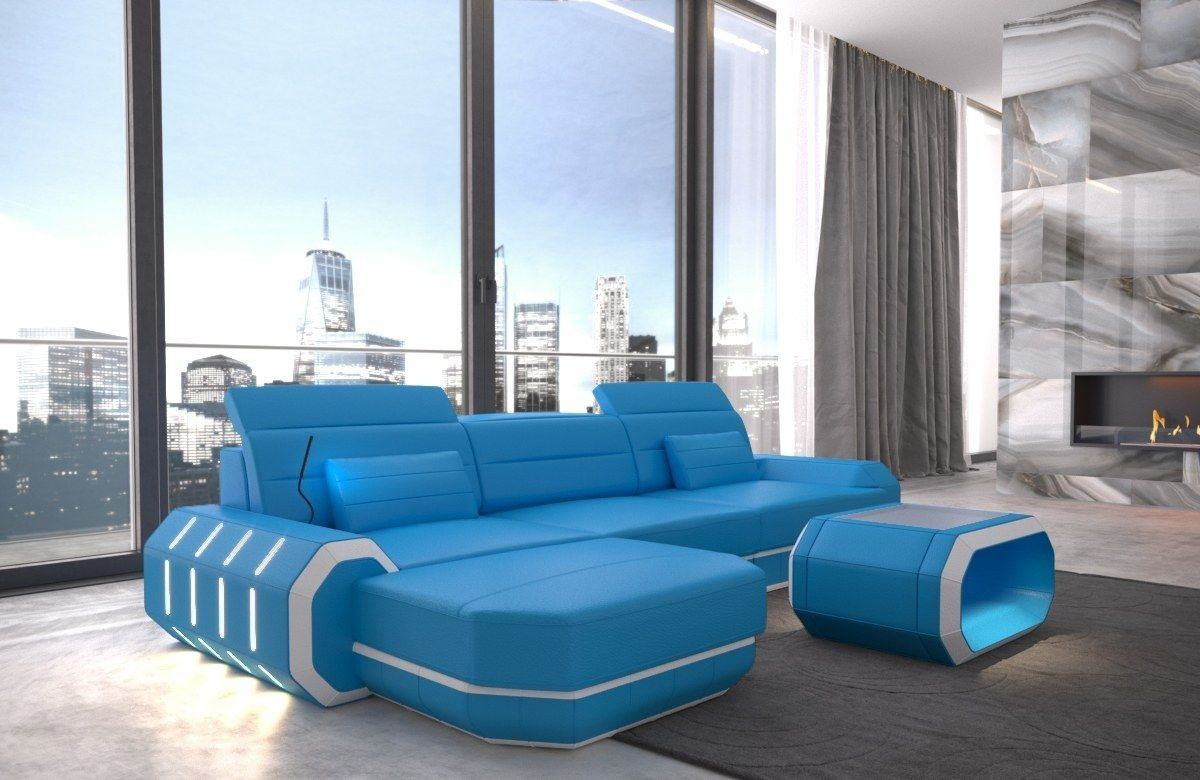 ledersofa roma in echtleder kunstleder l form blau und weiss. Black Bedroom Furniture Sets. Home Design Ideas