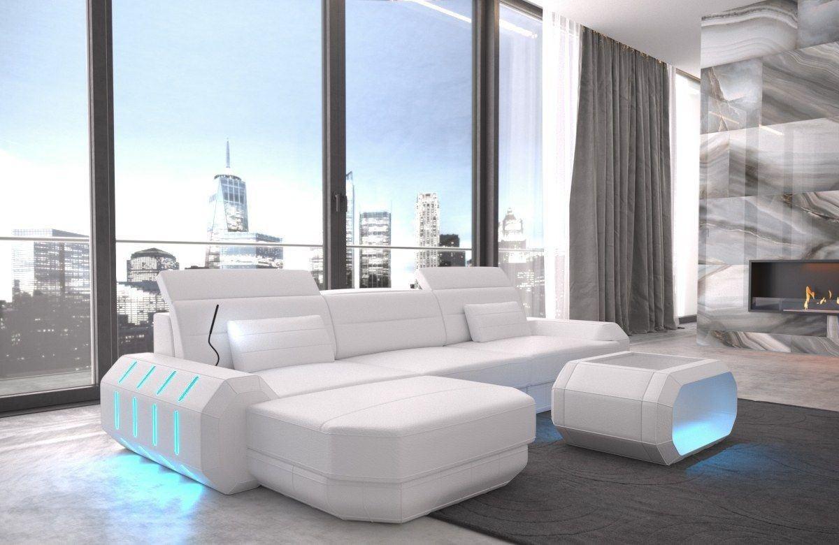 ledersofa roma in echtleder kunstleder l form komplett weiss. Black Bedroom Furniture Sets. Home Design Ideas