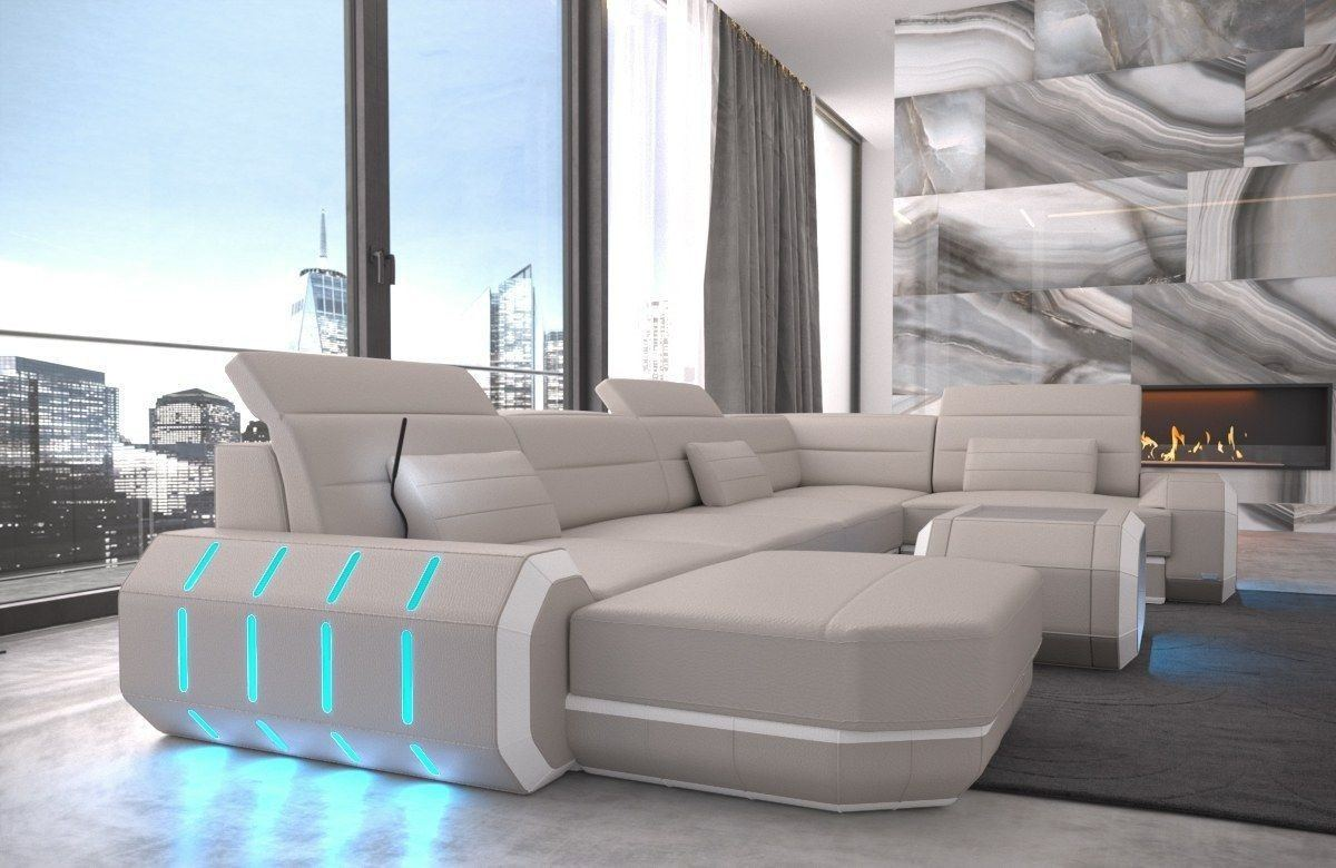 Sofa Wohnlandschaft Roma In Leder Als U Form Beige Und Weiss