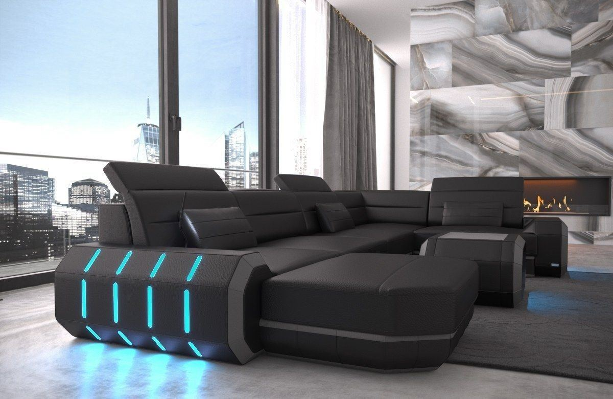 sofa wohnlandschaft roma in leder als u form schwarz und grau. Black Bedroom Furniture Sets. Home Design Ideas