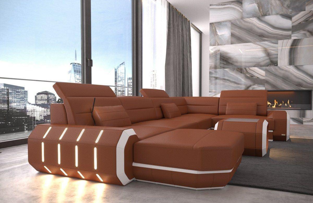 wohnlandschaft braun leder, sofa wohnlandschaft roma in leder als u form braun und weiss, Design ideen
