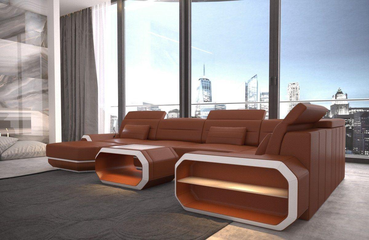 sofa wohnlandschaft roma in leder als u form braun und weiss. Black Bedroom Furniture Sets. Home Design Ideas