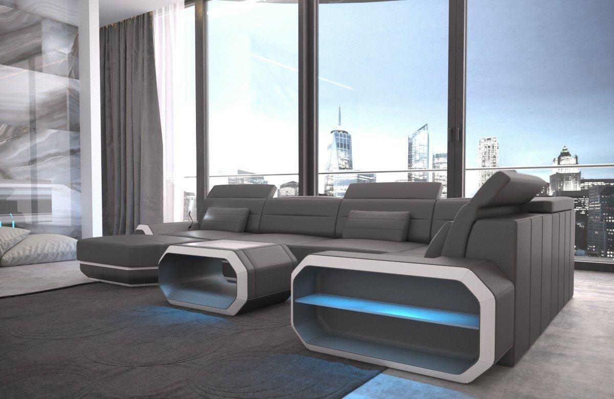 Sofa Wohnlandschaft Roma In Leder Als U Form Grau Und Weiss