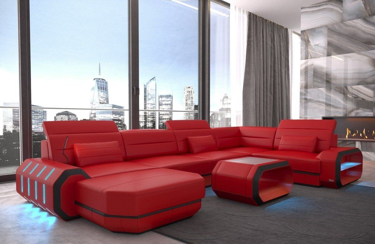 Sofa wohnlandschaft roma in leder als u form rot und schwarz for Wohnlandschaft leder rot