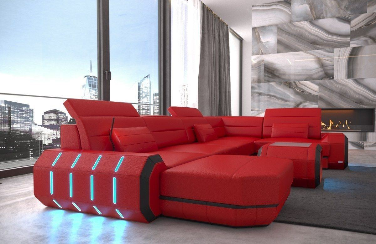 sofa wohnlandschaft roma in leder als u form rot und schwarz. Black Bedroom Furniture Sets. Home Design Ideas