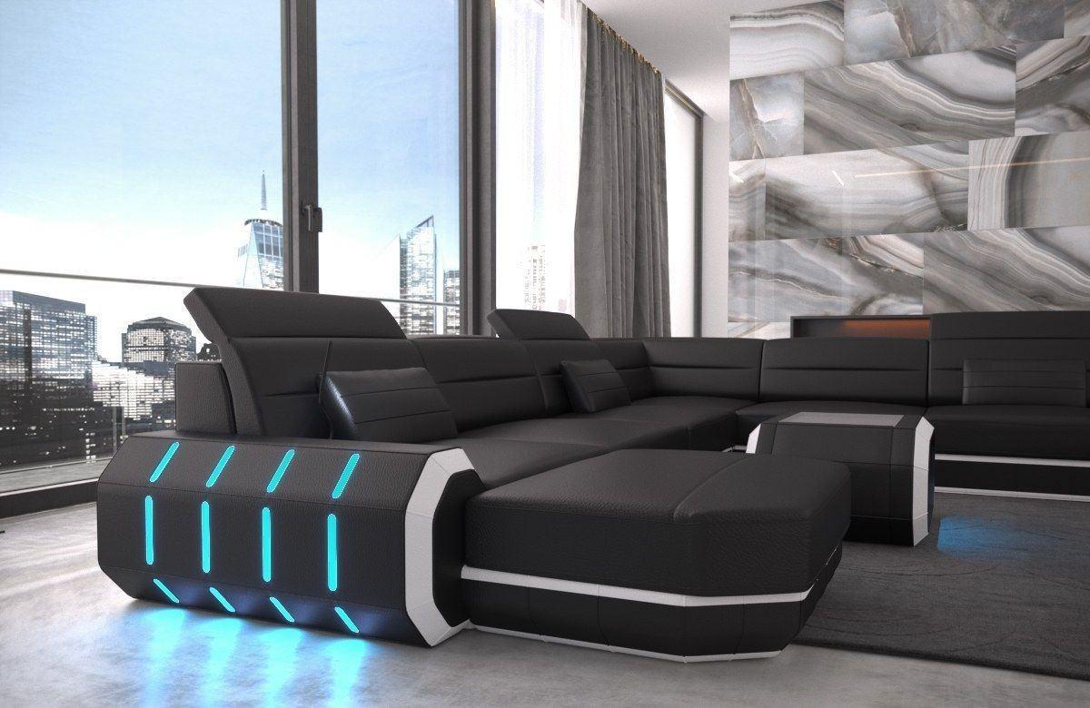 xxl wohnlandschaft roma in echtleder und kunstleder schwarz weiss. Black Bedroom Furniture Sets. Home Design Ideas