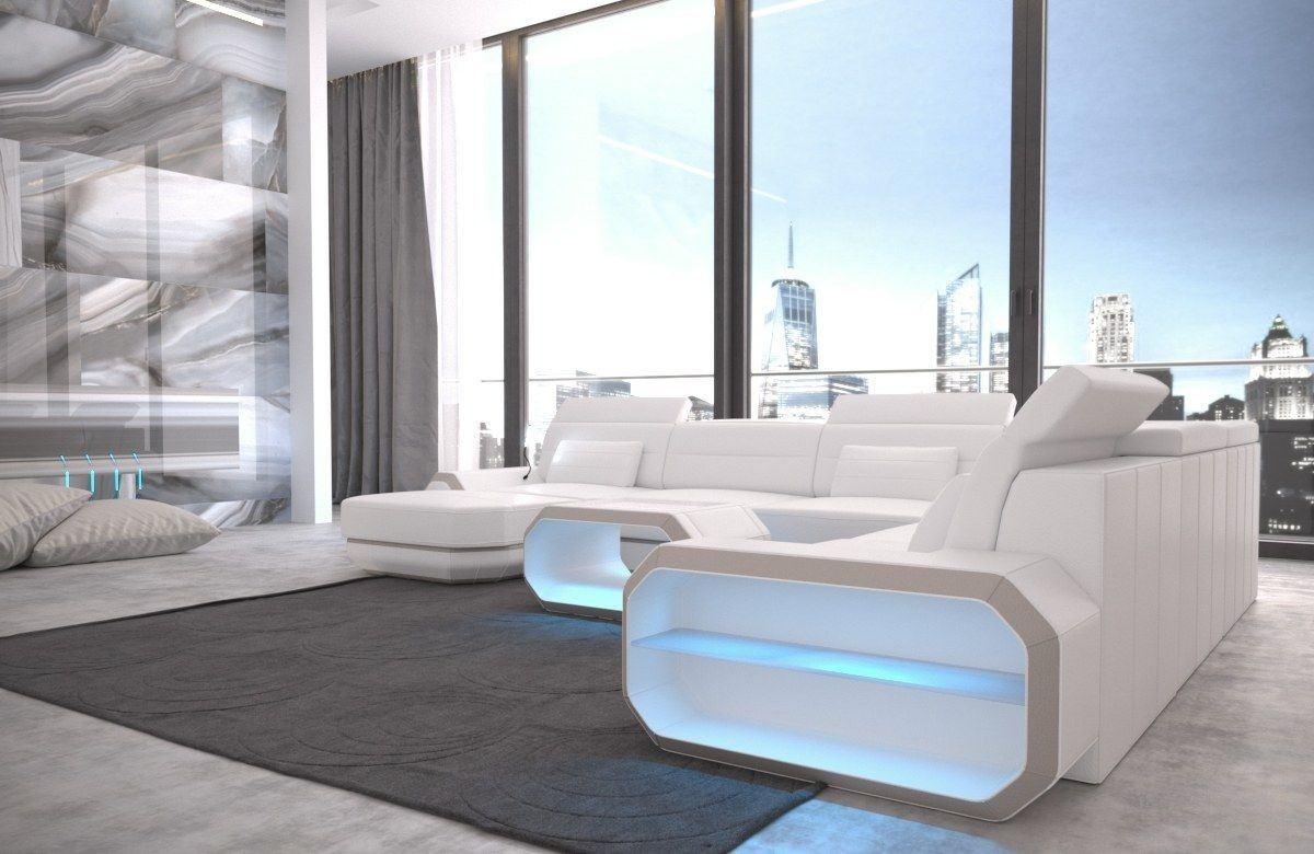 xxl wohnlandschaft roma in echtleder und kunstleder weiss beige. Black Bedroom Furniture Sets. Home Design Ideas