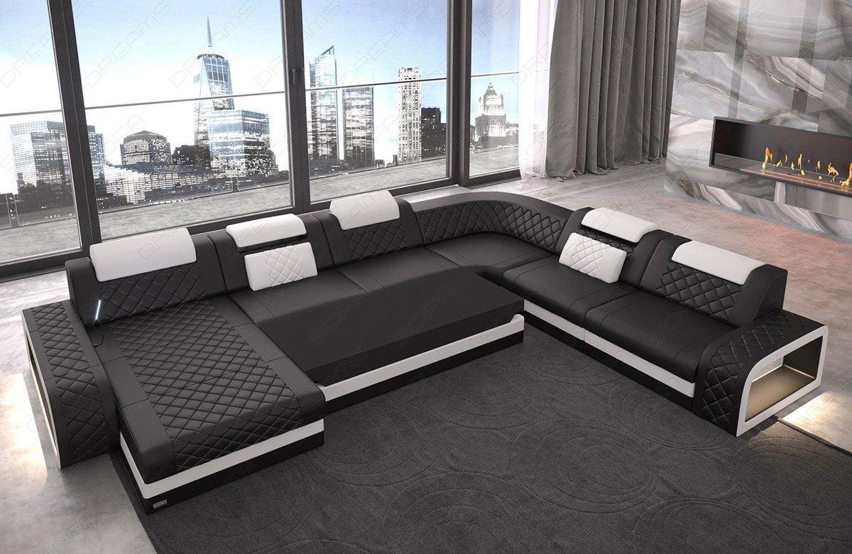 wohnlandschaft berlin xxl in echtleder mit beleuchtung. Black Bedroom Furniture Sets. Home Design Ideas