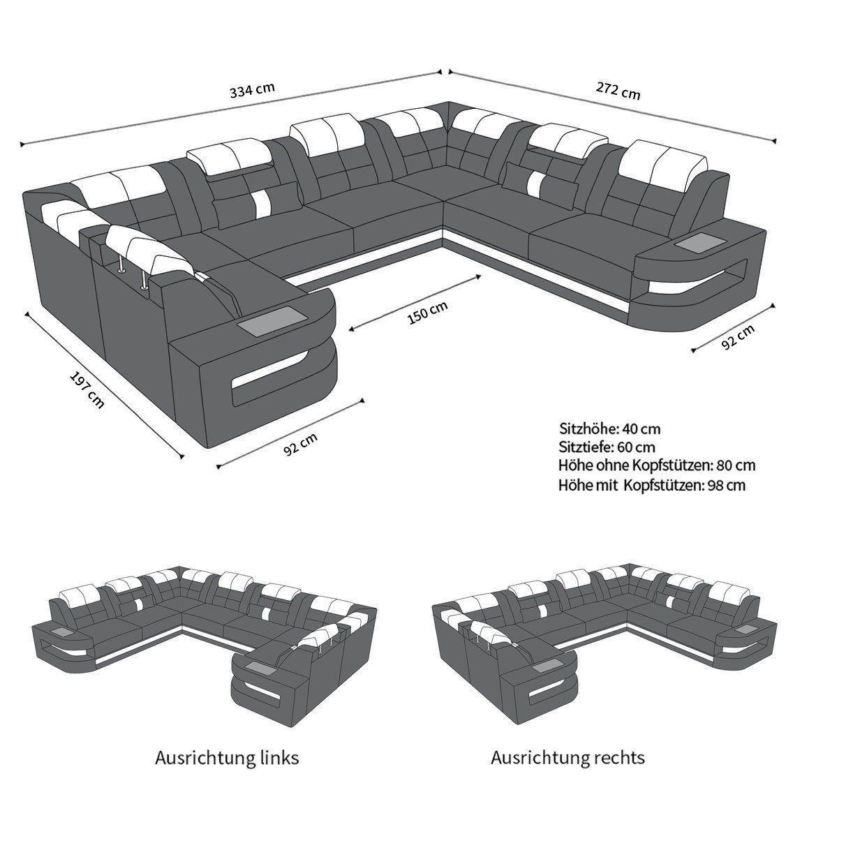Sofa wohnlandschaft como u form in leder komplett schwarz for Wohnlandschaft leder schwarz