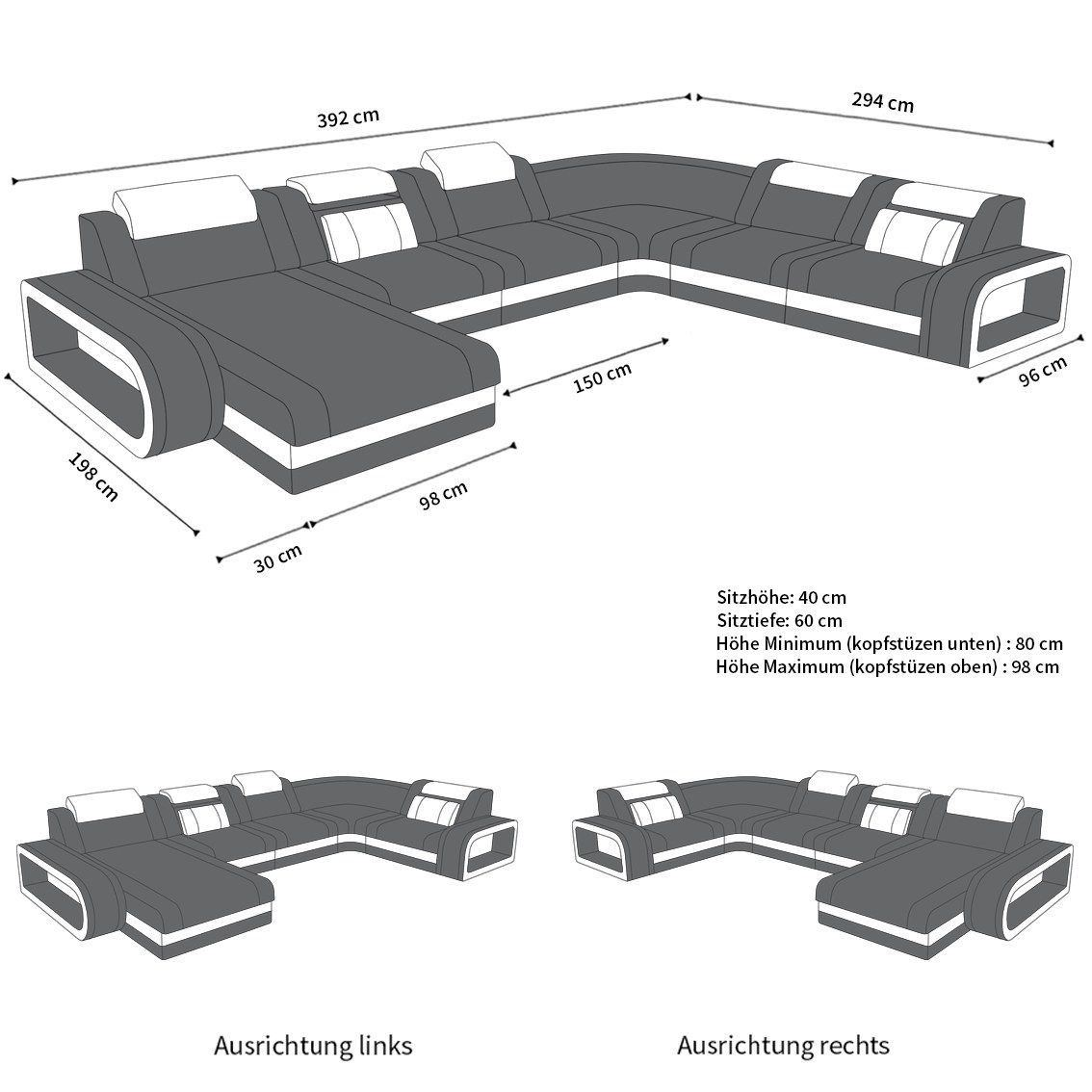 Wohnlandschaft Berlin Xxl In Mikrofaser Oder Einem Webstoff Bezug