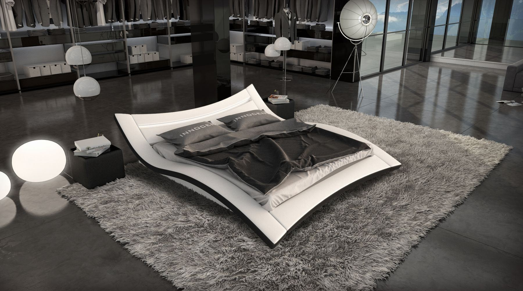 Designerbett Ancona Mit Led Beleuchtung Modernes Polsterbett