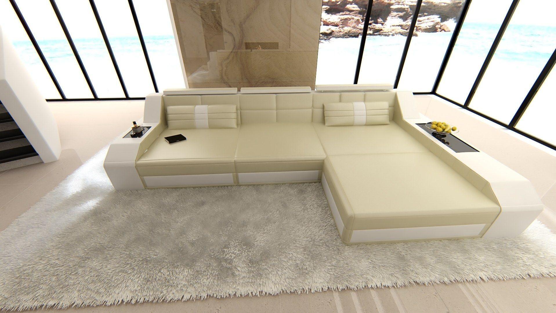 ledersofa arezzo l form beige weiss. Black Bedroom Furniture Sets. Home Design Ideas