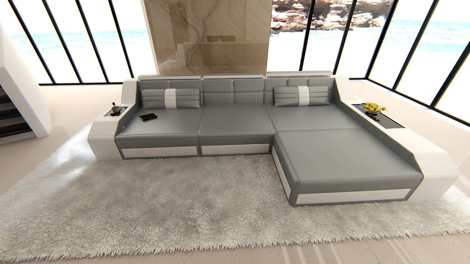 ledersofa arezzo l form grau weiss. Black Bedroom Furniture Sets. Home Design Ideas
