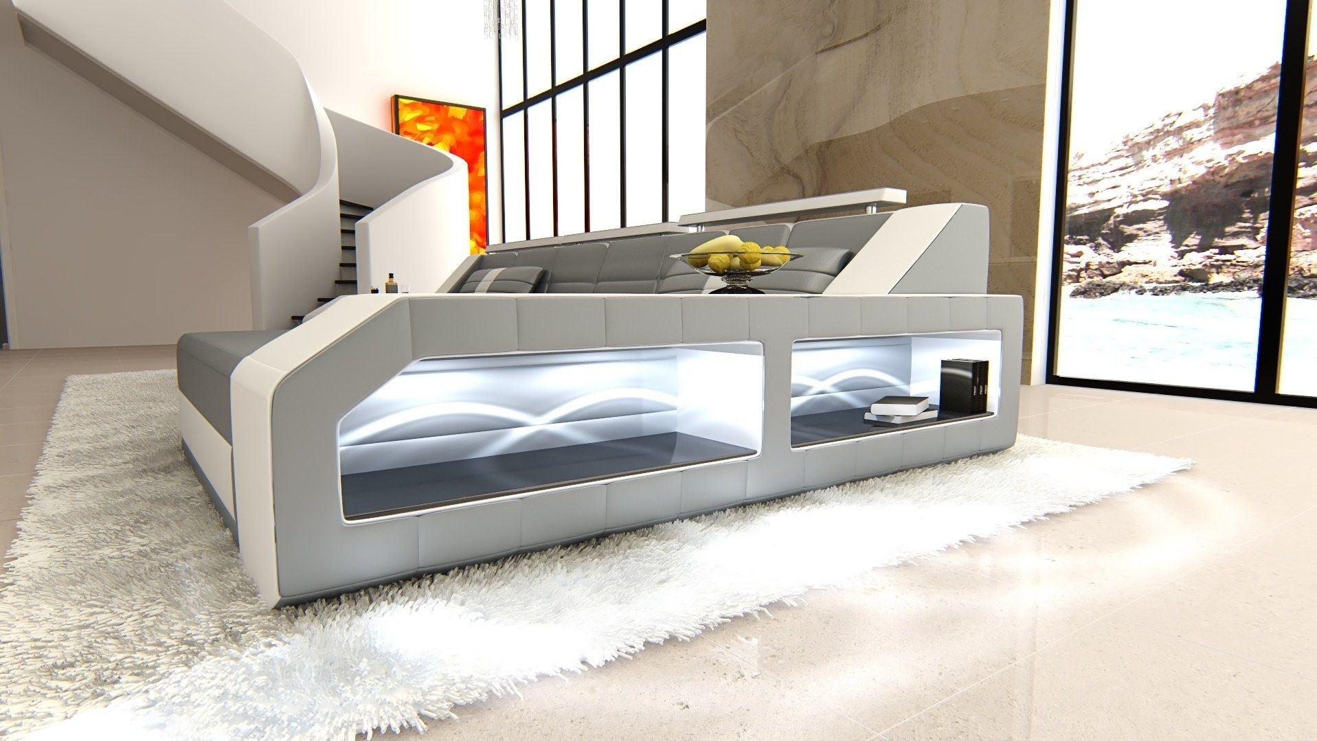 ledersofa arezzo l form grau weiss. Black Bedroom Furniture Sets. Home Design Ideas