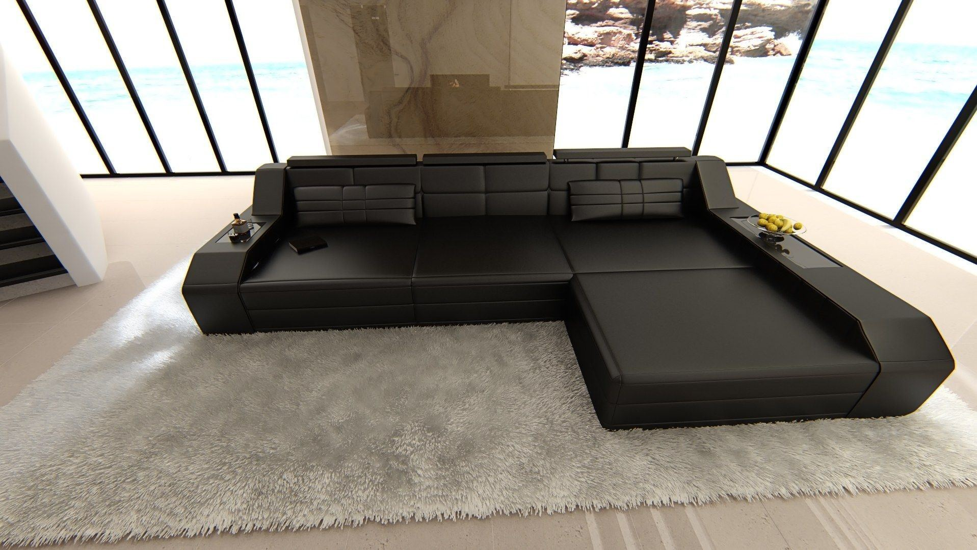 ledersofa arezzo l form schwarz schwarz. Black Bedroom Furniture Sets. Home Design Ideas