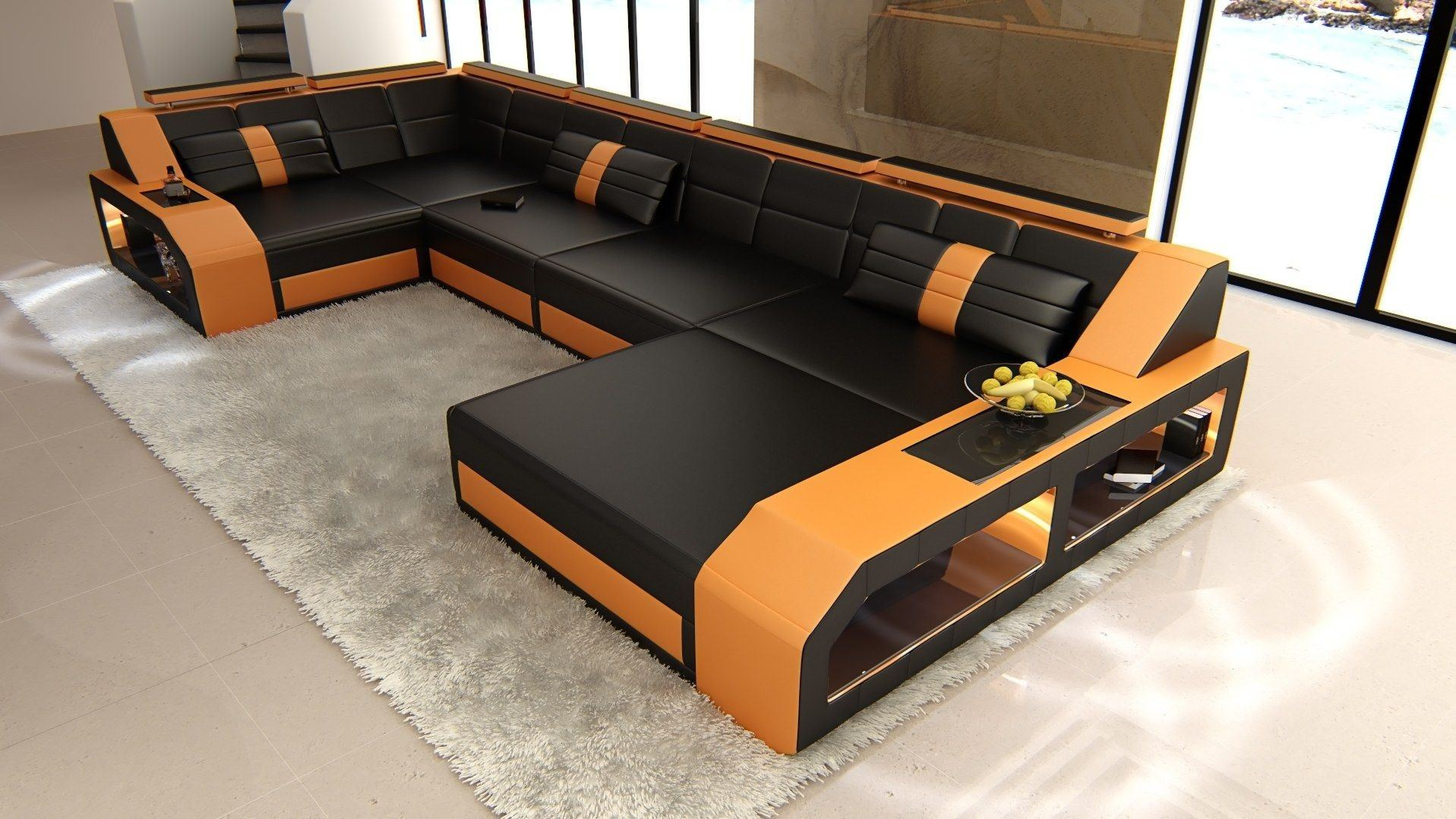 leder wohnlandschaft arezzo u form schwarz orange. Black Bedroom Furniture Sets. Home Design Ideas
