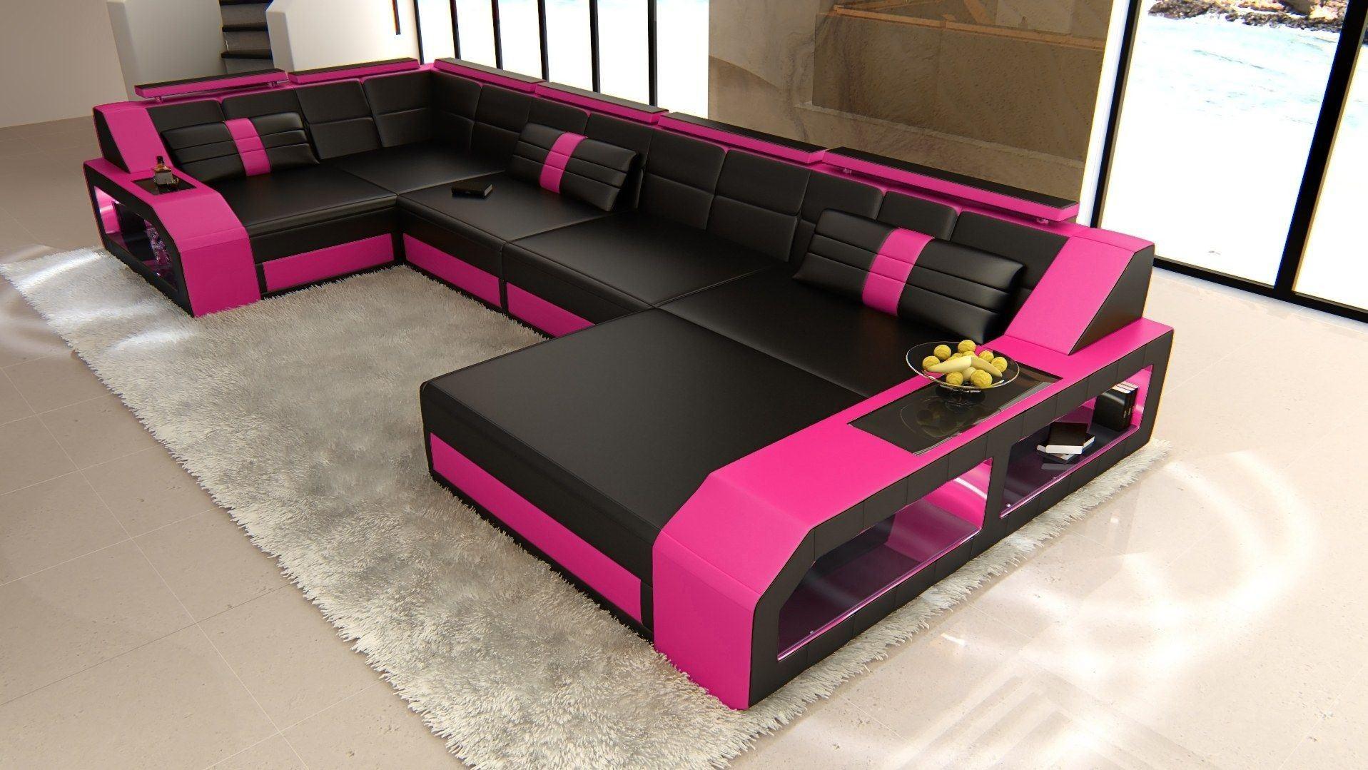 leder wohnlandschaft arezzo u form schwarz pink. Black Bedroom Furniture Sets. Home Design Ideas