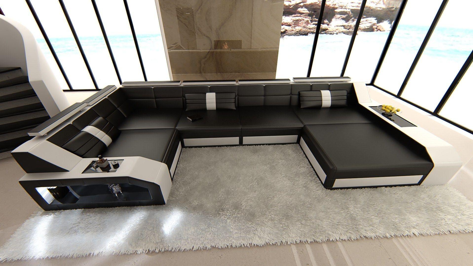 leder wohnlandschaft arezzo u form schwarz weiss. Black Bedroom Furniture Sets. Home Design Ideas