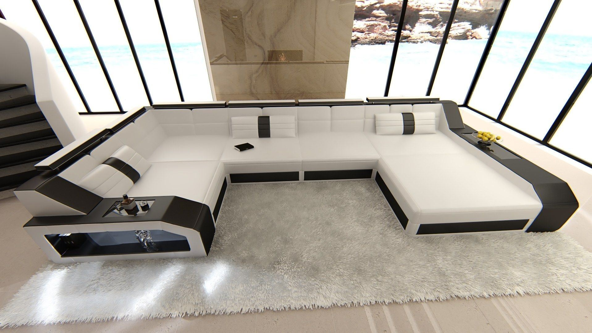 leder wohnlandschaft arezzo u form weiss schwarz. Black Bedroom Furniture Sets. Home Design Ideas